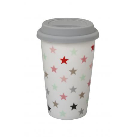 "Travelmug: ""Small Star Multicolour White"""