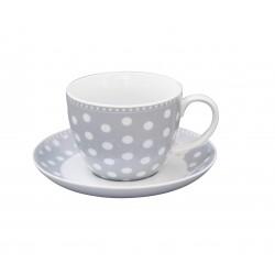 Tasse und Unterteller Dots Grey