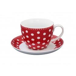 Tasse und Unterteller Dots Red
