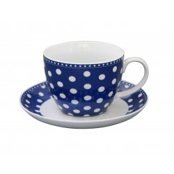 Tasse und Unterteller Dots Dark Blue