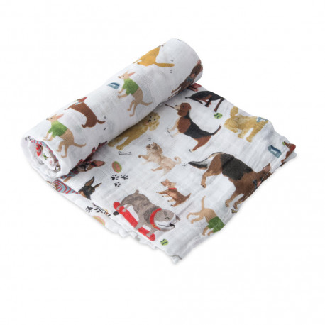 "Cotton Muslin Swaddle: ""Woof"" von Little Unicorn"