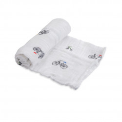 "Cotton Muslin Swaddle: ""Bike Family"" von Little Unicorn"