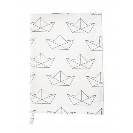 Küchentuch: Paper Boat All Over White