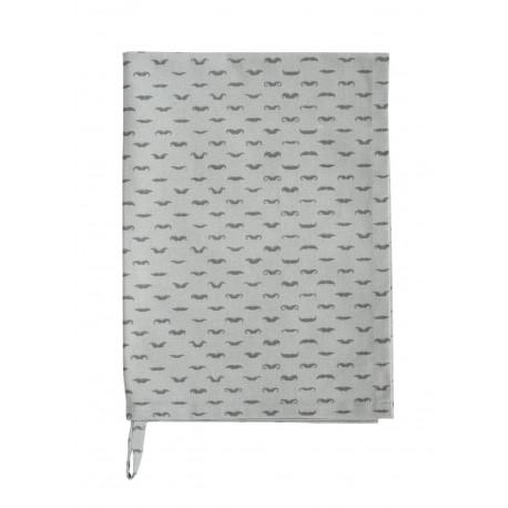 Küchentuch: Moustache Grey von Krasilnikoff, grau mit Schnauz-Muster