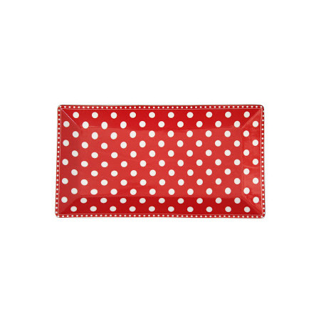 Servierplatte: Dots Red