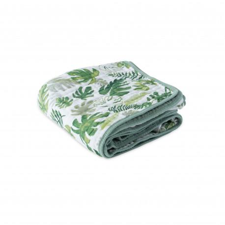 """Cotton Muslin Quilt """"Tropical Leaf"""" von Little Unicorn"""