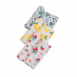 "Cotton Muslin Swaddle 3 Pack: ""Berry Lemonade"" von Little Unicorn"