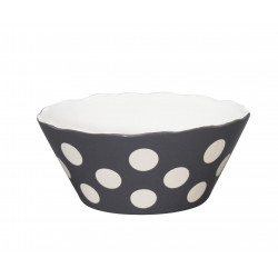 "Schüssel ""Small Happy Bowl Charcoal With Dots"" von Krasilnikoff"
