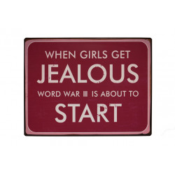 Blechschild: When girls get jealous world war III is about to start