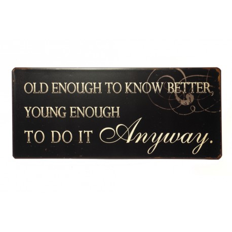 Blechschild: Old enough to know better, young enough to do it anyway