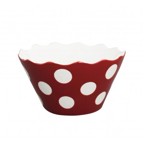 "Schüssel ""Micro Happy Bowl Red With Dots"" von Krasilnikoff"